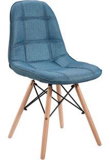 Cadeira Linho Com Base Em Madeira 1114-Or Design - Azul