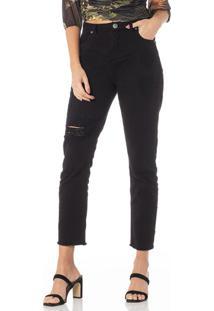 Calça Mom Em Jeans Preto