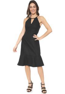 Vestido Mercatto Midi Recortes Preto
