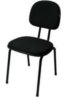 Cadeira Fixa 4 Pés Csf-01-3/4 Em Tecido Preto Mq14 Pethiflex