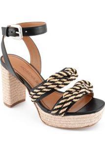 Sandalia Salto Alto Com Amarracao Preto