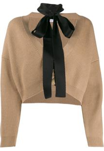 Red Valentino Cropped Cardigan With Tie Neck - Neutro