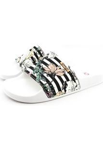 Chinelo Slide Quality Shoes Feminino Listas Preto E Branca Sola Branca 34 34