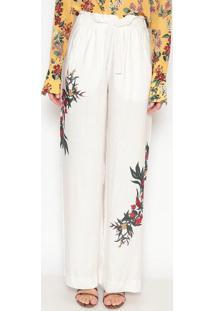 Calça Pantalona Floral - Off White & Vermelhadudalina