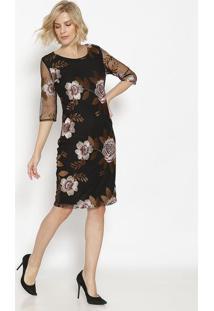 Vestido MãDi Em Tule Floral - Preto & Rosasimple Life