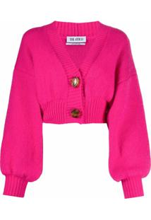 The Attico Cardigan Gola V Cropped - Rosa