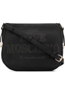 Love Moschino Bolsa Tiracolo Com Logo Bordado - Preto