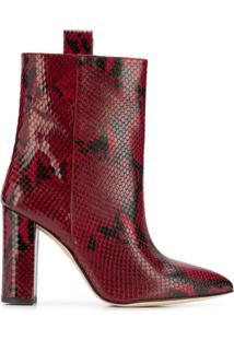 Paris Texas Ankle Boot Com Estampa Pele De Cobra - Vermelho