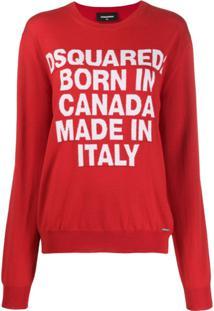 Dsquared2 Suéter Born In Canada De Tricô - Vermelho