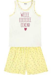 Pijama Feminino Em Algodão Com Shorts Estampado Em Outros Tamanhos