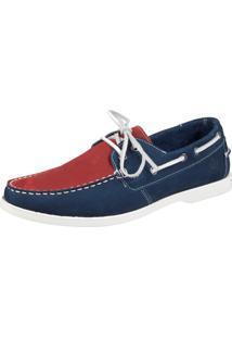 Docksider Casual Cadarço Sapatotop Shoes Confortável Vermelho/Azul