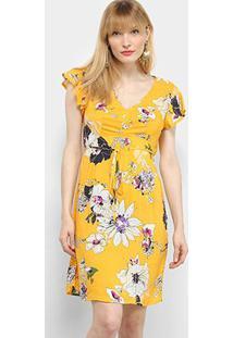 Vestido Mercatto Curto Floral - Feminino-Amarelo