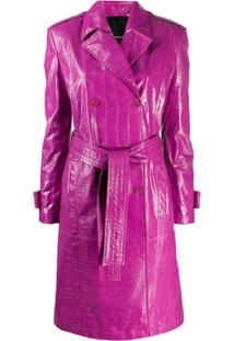 Pinko Trench Coat Com Textura Croco - Roxo