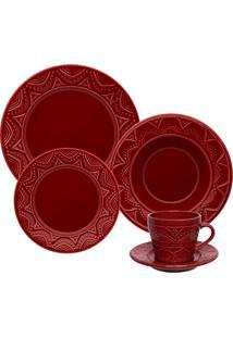 Aparelho De Jantar Oxford Serena Veludo Cerâmica 30 Peças Bordô