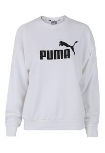 e3d8e9e68f -27% Blusão De Moletom Puma Essentials Logo Crew - Feminino - Branco