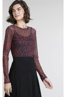 57c46f562 Blusa Decote Redondo Tule feminina