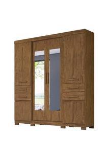 Guarda Roupa Casal 6 Portas E Espelho Aracaju Castanho Wood - Moval