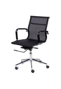 Cadeira Office Eames Tela Baixa Giratória Preto Or Design