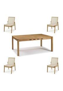 Conjunto Trama Mesa 220Cm + Cadeiras Corda Areia - 60501 Areia
