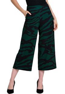 Calça Pantacourt Kes Estampada Zebra Verde Militar