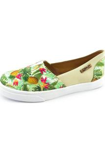 Tênis Slip On Quality Shoes Feminino 002 Abacaxi Verde/Bege 38
