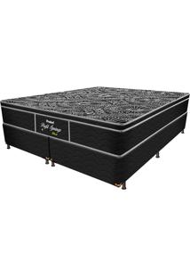 Cama Box Conjugada Queen Springs Black - Probel - Preto / Prata