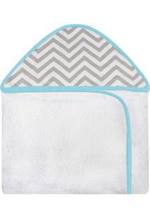 Toalha De Banho C/ Capuz Estampado Laura Baby Chevron Tiffany