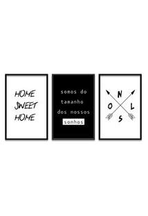 Quadro Oppen House 60X120Cm Home Sweet Home Moldura Preta Com Vidro - Oppen House Decora