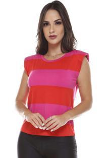 Blusa Com Ombreira Listrada Pink