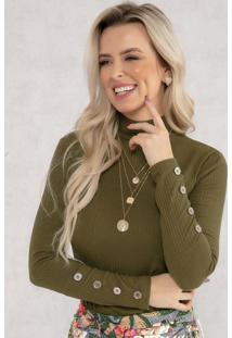 Blusa Com Botões Decorativos Verde Musgo