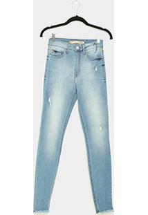 Calça Jeans Skinny Lez A Lez Estonada Barra Desfiada Feminina - Feminino-Azul