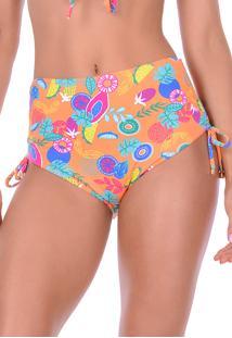 Calcinha Summer Soul Hot Pants Com Amarração Tropicale Laranja