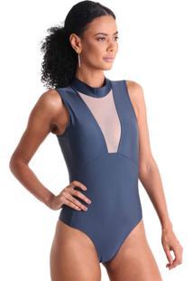 Body Lycra Com Tule - Azul - Líquido