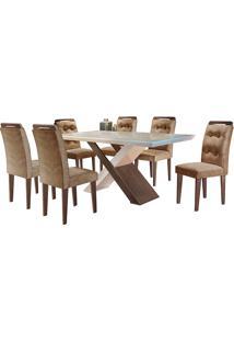 Conjunto De Mesa Para Sala De Jantar Tampo De Vidro Com 6 Cadeiras Doris-Rufato - Animalle Chocolate / Off White / Café