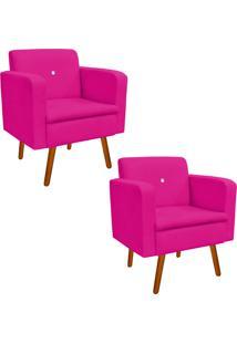 Kit 02 Poltrona Decorativa Emília Suede Pink Com Strass - D'Rossi