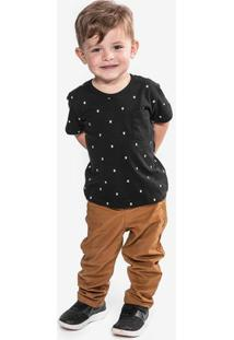 Camiseta Bigotes Preta Niños 500007
