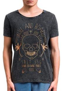 Camiseta Salt 35G Skull And Boards Masculina - Masculino-Preto