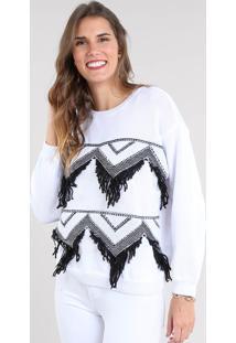 Suéter Feminino Em Tricô Com Franjas Branco