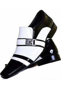 Sapato Social Envernizado Gofer Couro - Masculino-Branco+Preto