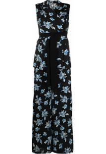 Dvf Diane Von Furstenberg Macacão Com Estampa Floral Bernice - Preto