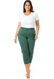 Calça Jeans Capri Destroyed Plus Size Confidencial Extra Feminina - Feminino-Verde