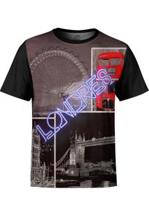 Camiseta Estampada Over Fame Londres Preta