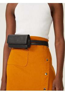 Amaro Feminino Bolsa Belt Bag Flap, Preto