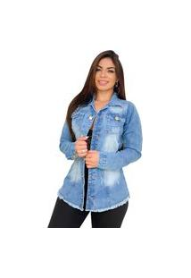 Max Jaqueta Jeans Destroyed - Ewf Jeans - Azul Claro