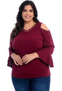 Blusa Plus Size Barrieli Bordô Ombro Vazado Tiras