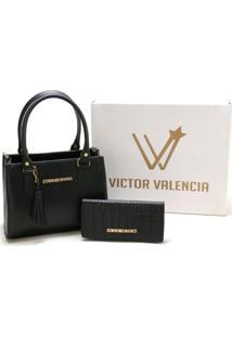 Kit Bolsa Tiracolo Miami Com Carteira Victor Valencia - Preta - Kanui