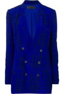 Haider Ackermann Blazer Xadrez - Azul