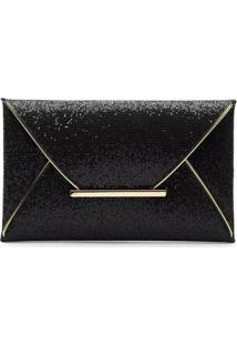 Bolsa Clutch Liage Envelope Tecido Brilhante Brilho Preta E Metal Dourado