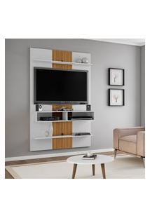 Painel Vega Para Tv Até 47 Polegadas 2 Nichos Branco 3D Ripado Móveis Bechara