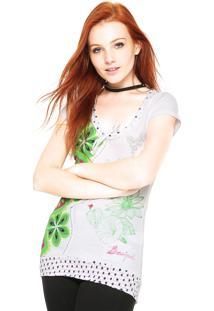 Camiseta Desigual Floral Branca